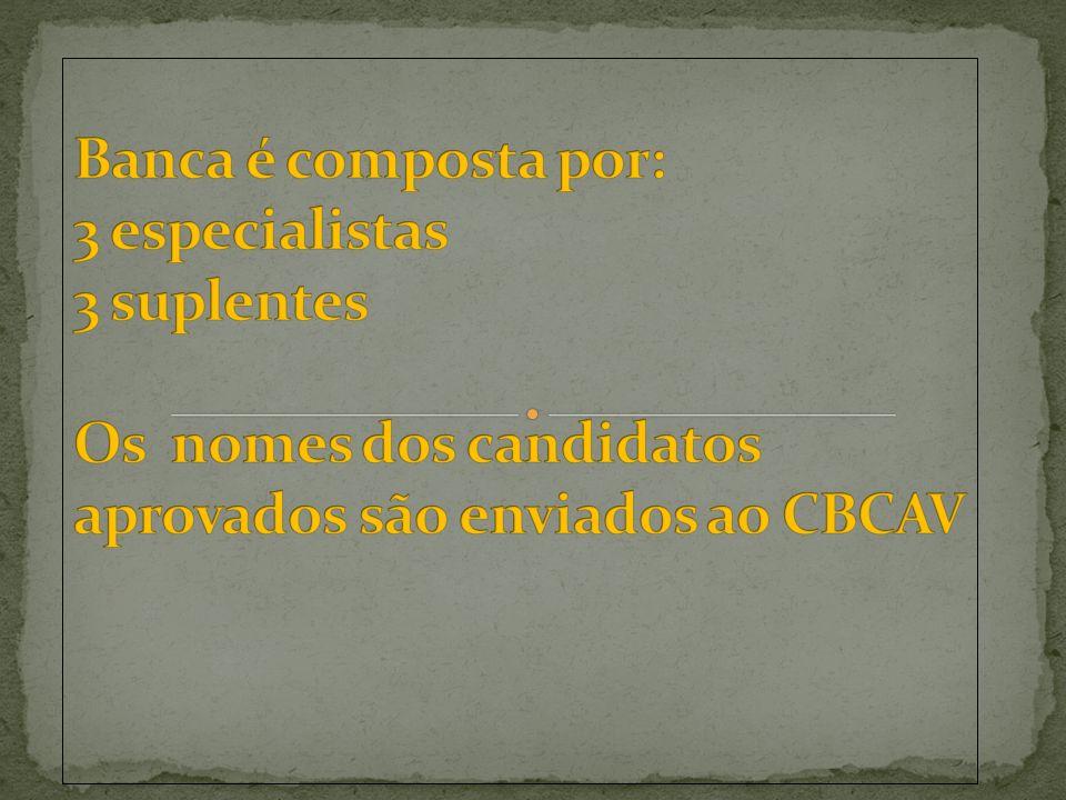 Banca é composta por: 3 especialistas 3 suplentes Os nomes dos candidatos aprovados são enviados ao CBCAV
