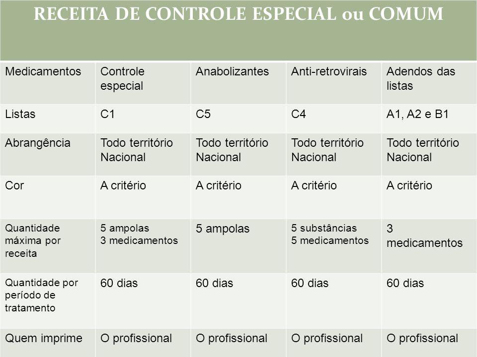 RECEITA DE CONTROLE ESPECIAL ou COMUM