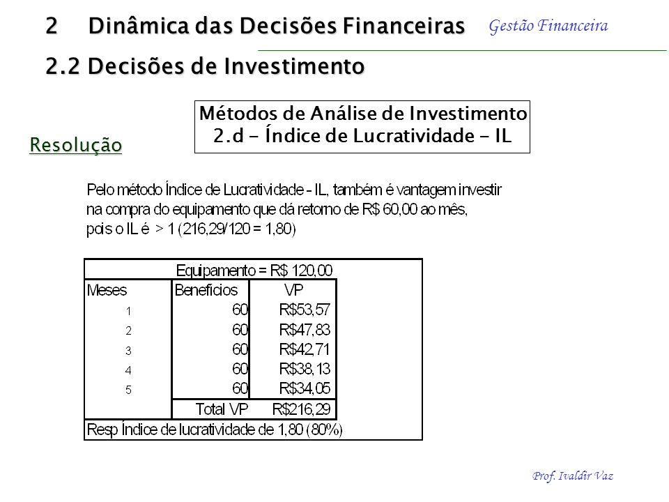 Métodos de Análise de Investimento 2.d - Índice de Lucratividade - IL