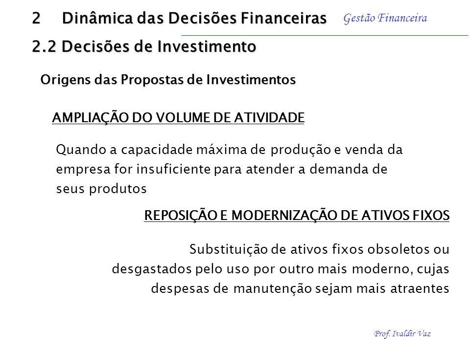 2 Dinâmica das Decisões Financeiras 2.2 Decisões de Investimento