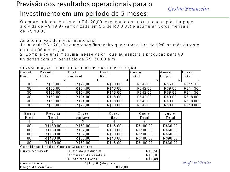 Previsão dos resultados operacionais para o investimento em um período de 5 meses: