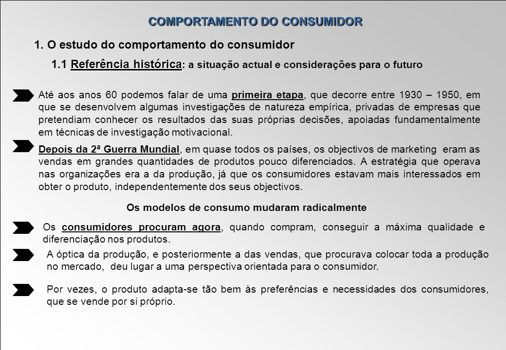 COMPORTAMENTO DO CONSUMIDOR Os modelos de consumo mudaram radicalmente