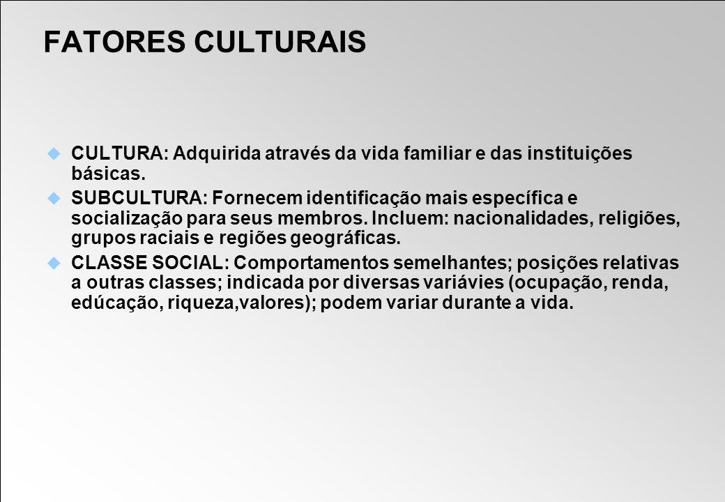 FATORES CULTURAIS CULTURA: Adquirida através da vida familiar e das instituições básicas.
