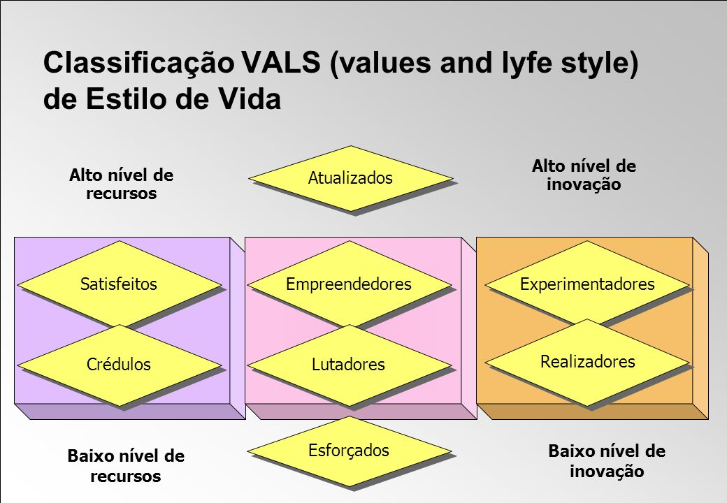 Classificação VALS (values and lyfe style) de Estilo de Vida