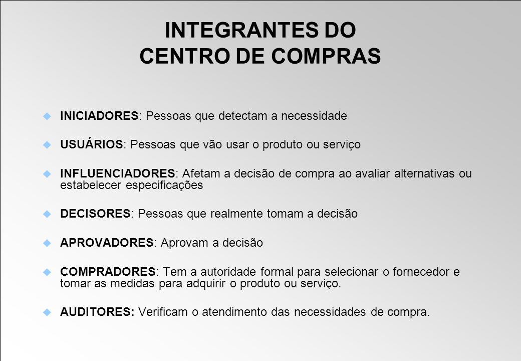 INTEGRANTES DO CENTRO DE COMPRAS
