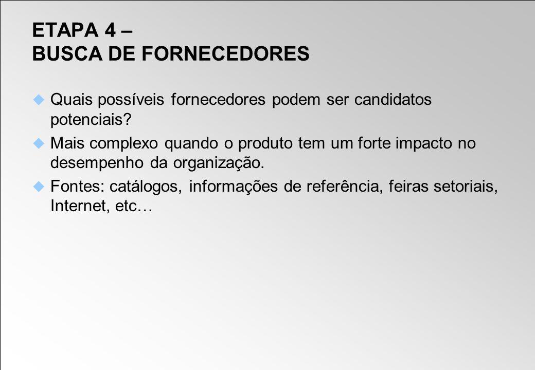 ETAPA 4 – BUSCA DE FORNECEDORES