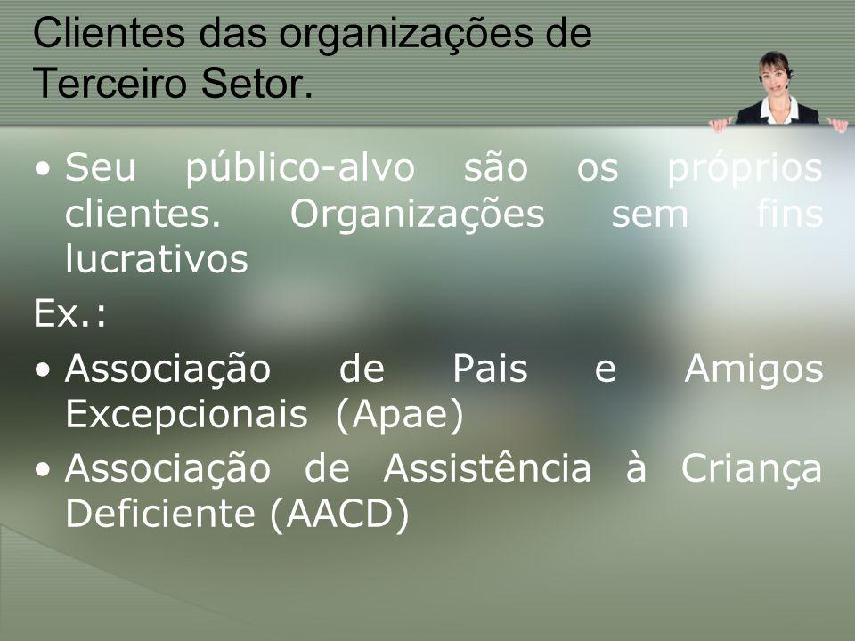 Clientes das organizações de Terceiro Setor.