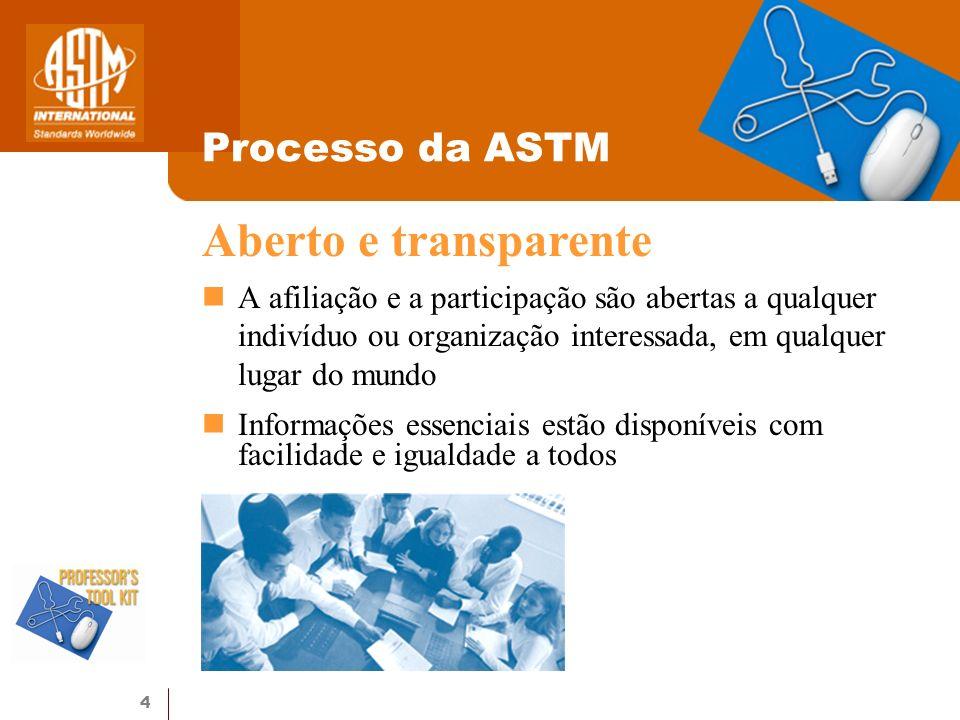 Aberto e transparente Processo da ASTM