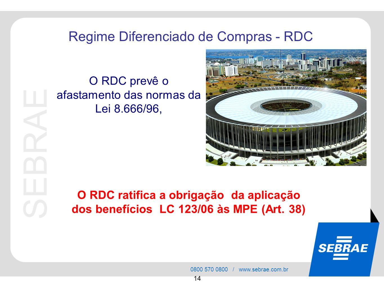 O RDC prevê o afastamento das normas da Lei 8.666/96,