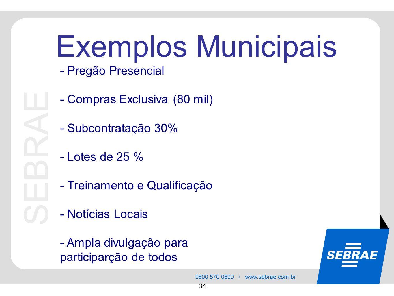 SEBRAE Exemplos Municipais - Pregão Presencial