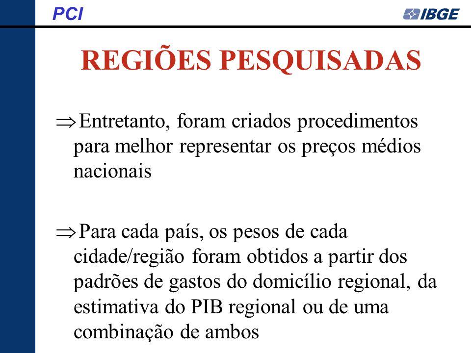 PCI REGIÕES PESQUISADAS. Entretanto, foram criados procedimentos para melhor representar os preços médios nacionais.