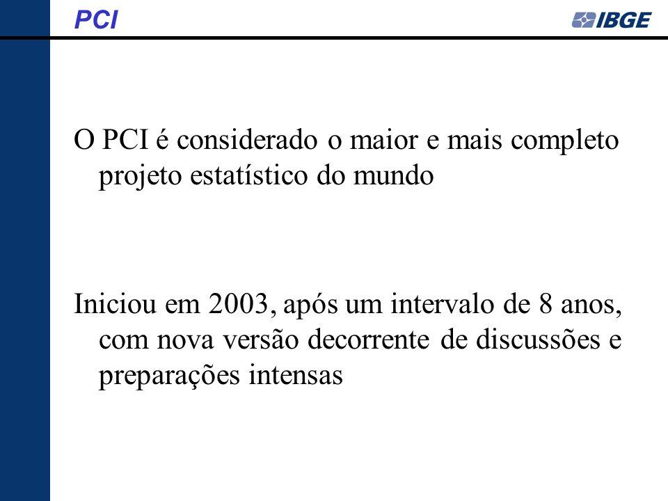 PCI O PCI é considerado o maior e mais completo projeto estatístico do mundo.
