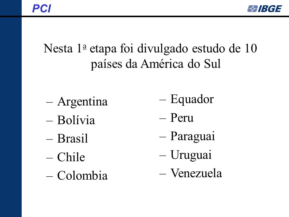 Nesta 1a etapa foi divulgado estudo de 10 países da América do Sul