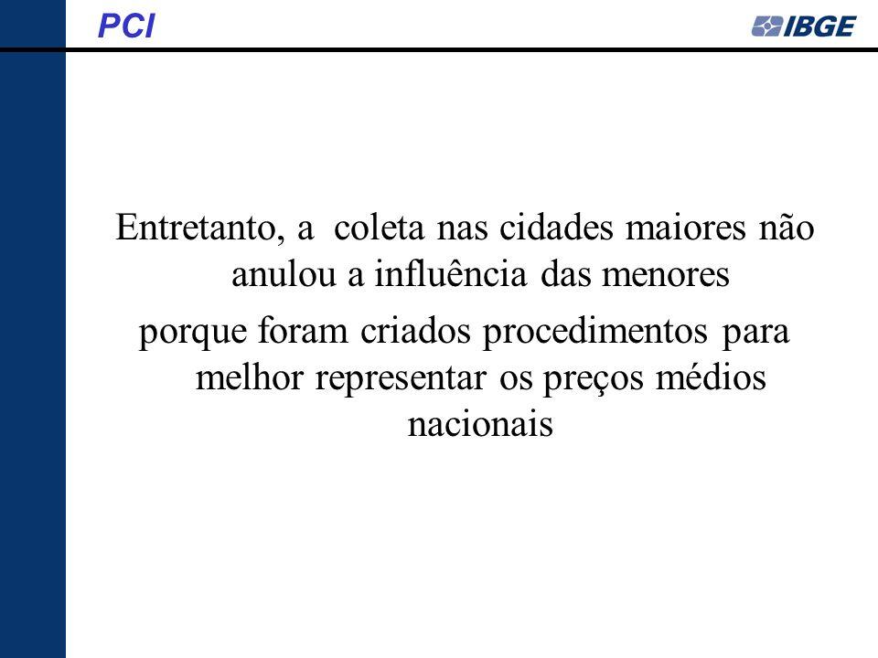 PCI Entretanto, a coleta nas cidades maiores não anulou a influência das menores.