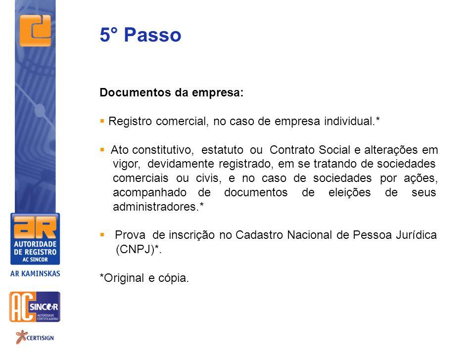 5° Passo Documentos da empresa: