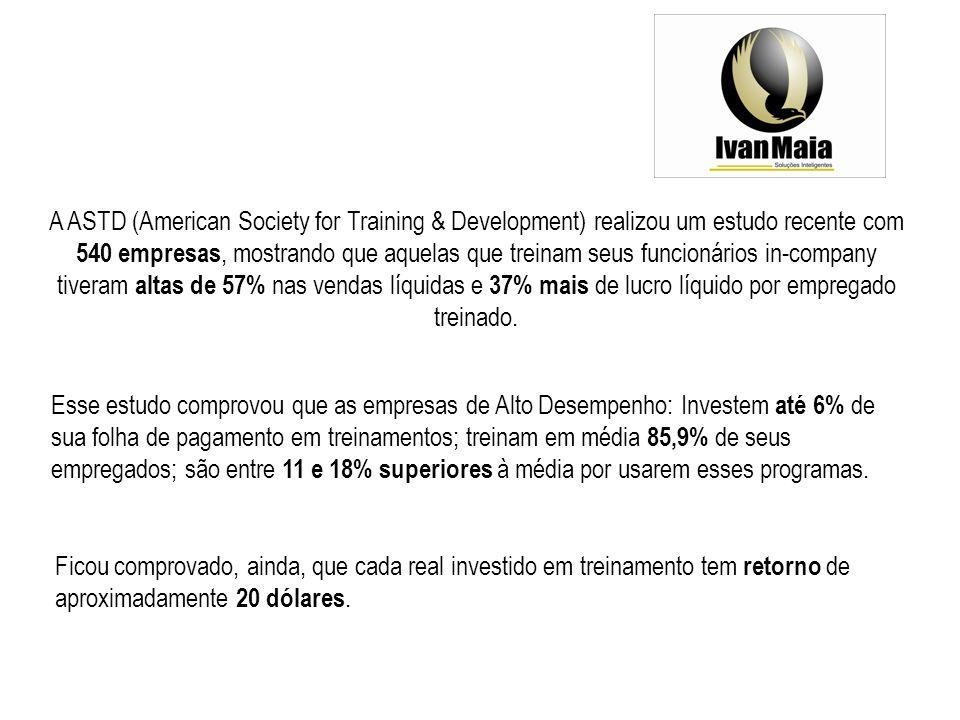 A ASTD (American Society for Training & Development) realizou um estudo recente com 540 empresas, mostrando que aquelas que treinam seus funcionários in-company