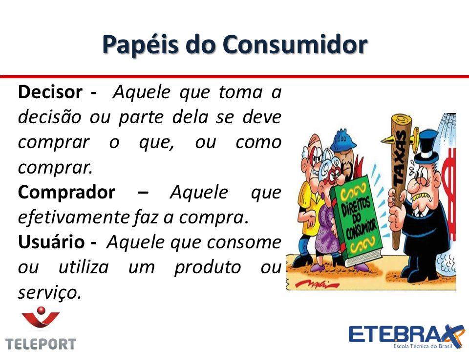 Papéis do Consumidor Decisor - Aquele que toma a decisão ou parte dela se deve comprar o que, ou como comprar.