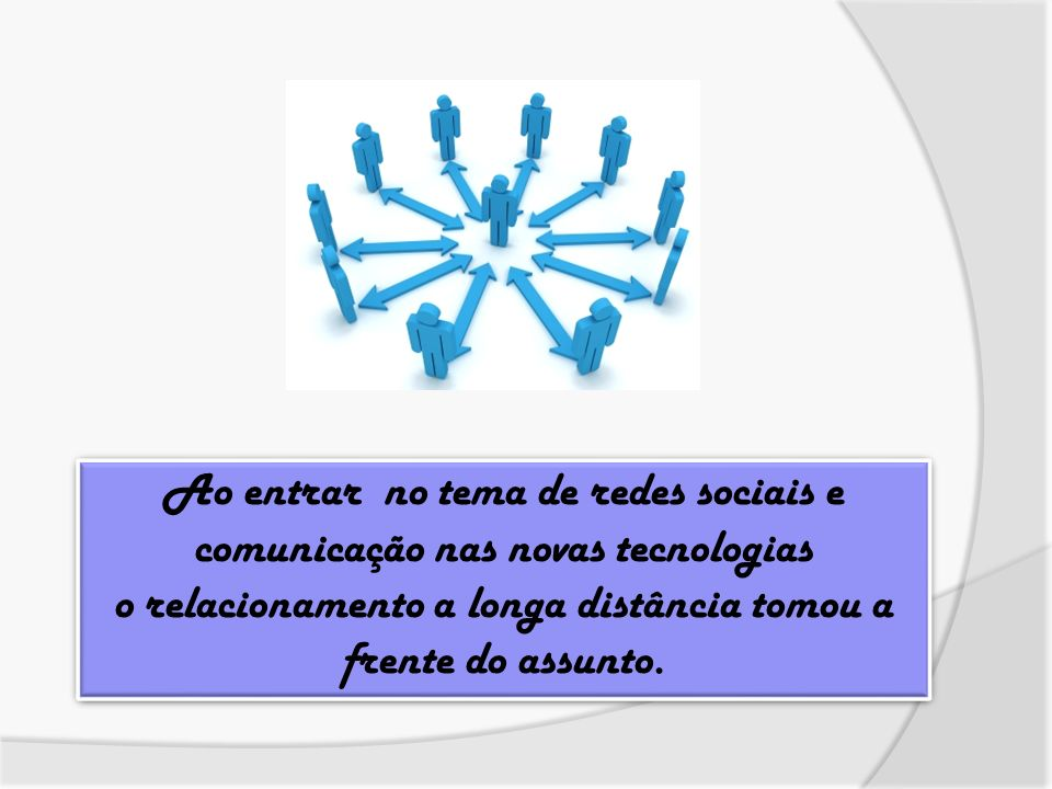 Ao entrar no tema de redes sociais e comunicação nas novas tecnologias