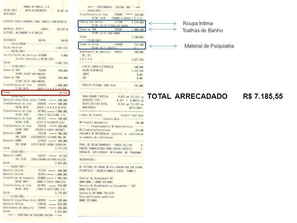 TOTAL ARRECADADO R$ 7.185,55 Roupa Intima Toalhas de Banho