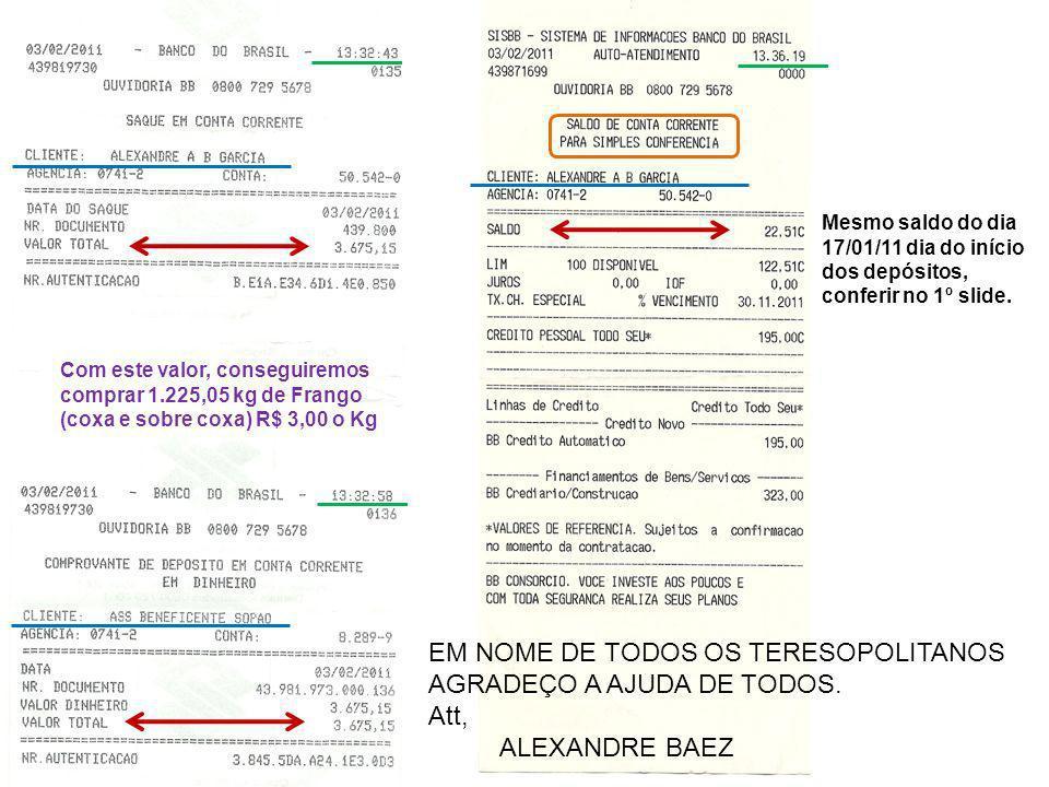 EM NOME DE TODOS OS TERESOPOLITANOS AGRADEÇO A AJUDA DE TODOS. Att,