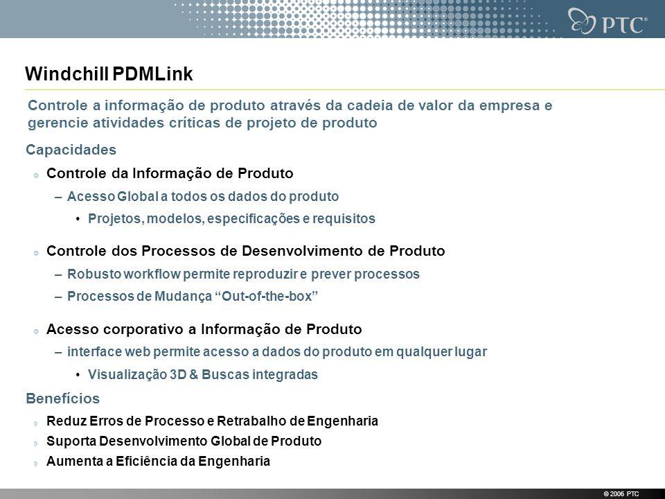 Windchill PDMLink Controle a informação de produto através da cadeia de valor da empresa e gerencie atividades críticas de projeto de produto.