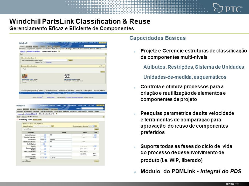 Windchill PartsLink Classification & Reuse Gerenciamento Eficaz e Eficiente de Componentes