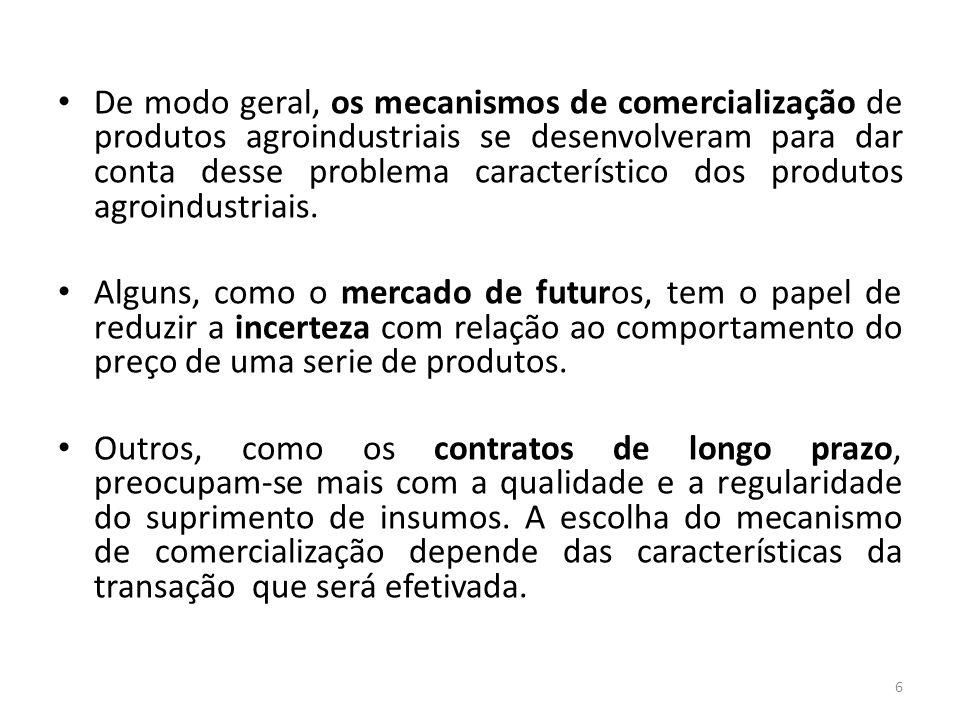 De modo geral, os mecanismos de comercialização de produtos agroindustriais se desenvolveram para dar conta desse problema característico dos produtos agroindustriais.