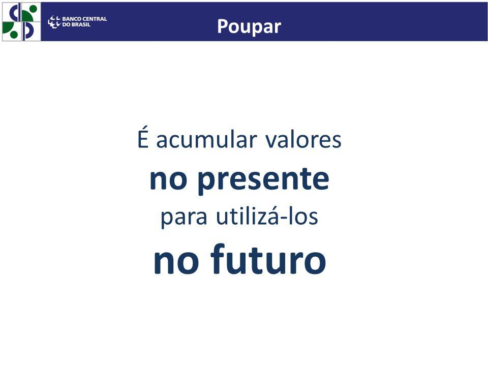 no futuro no presente É acumular valores para utilizá-los Poupar