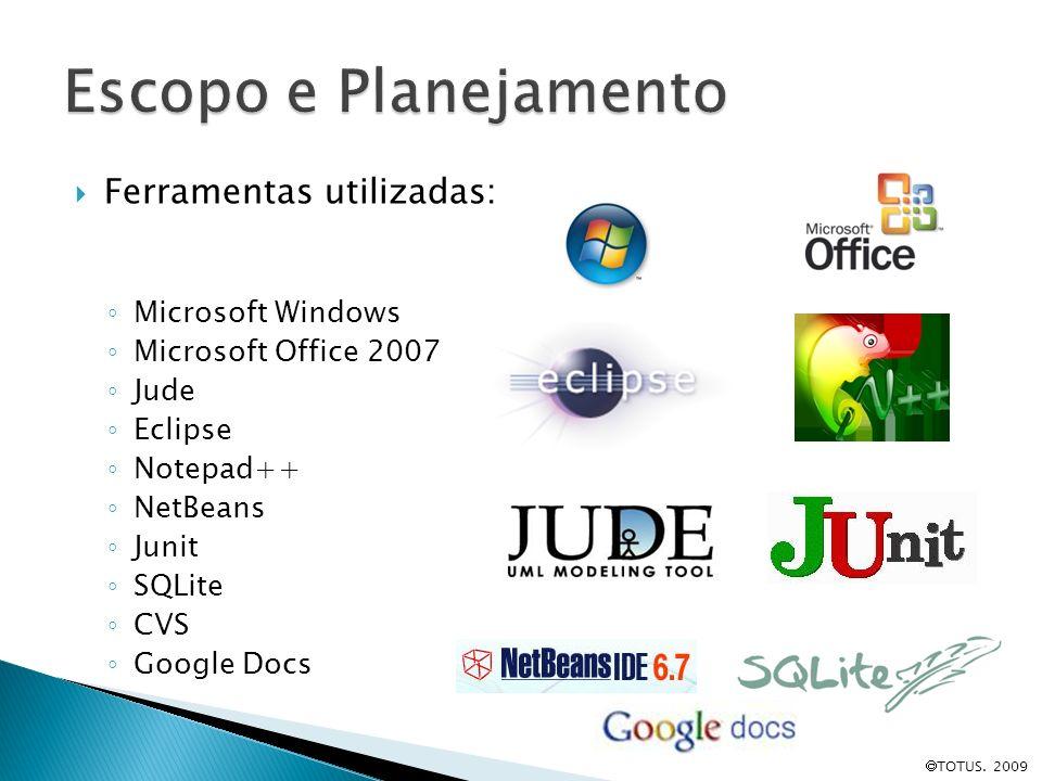 Escopo e Planejamento Ferramentas utilizadas: Microsoft Windows