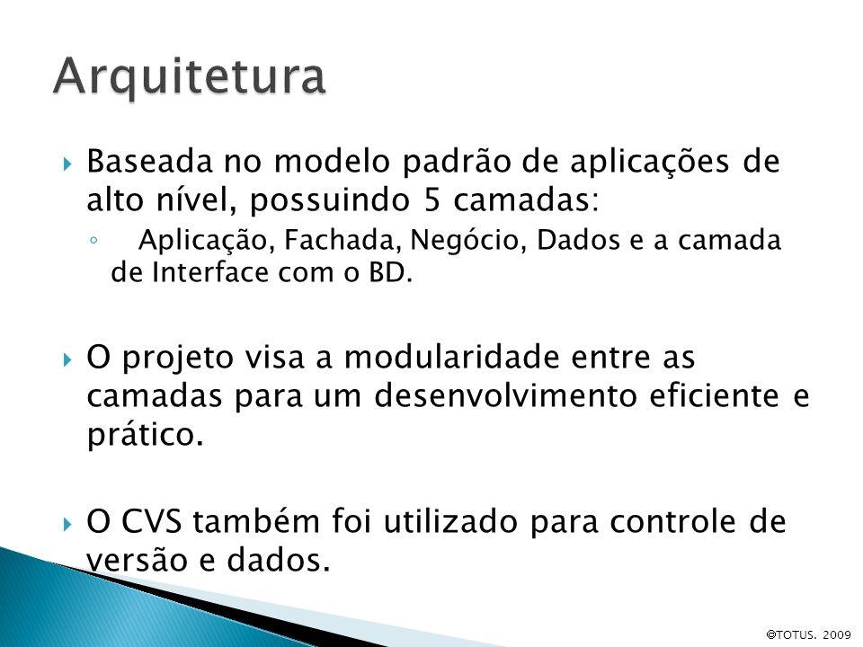 Arquitetura Baseada no modelo padrão de aplicações de alto nível, possuindo 5 camadas: