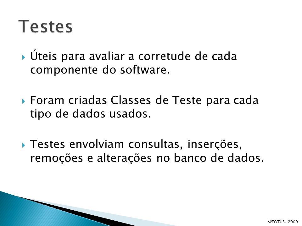 Testes Úteis para avaliar a corretude de cada componente do software.