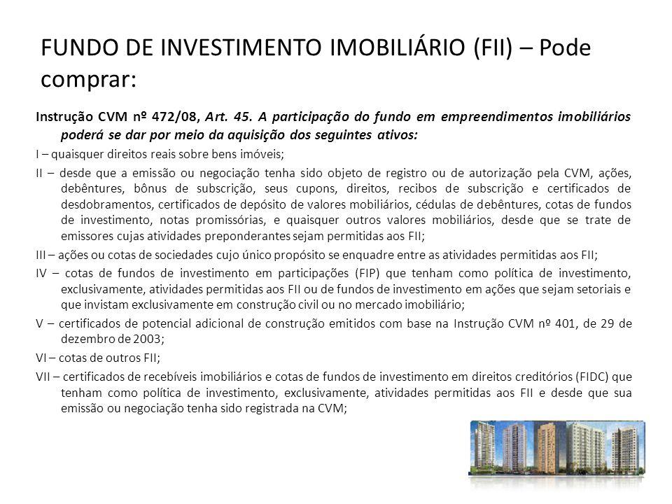 FUNDO DE INVESTIMENTO IMOBILIÁRIO (FII) – Pode comprar: