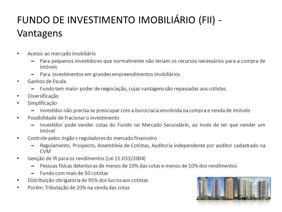 FUNDO DE INVESTIMENTO IMOBILIÁRIO (FII) - Vantagens