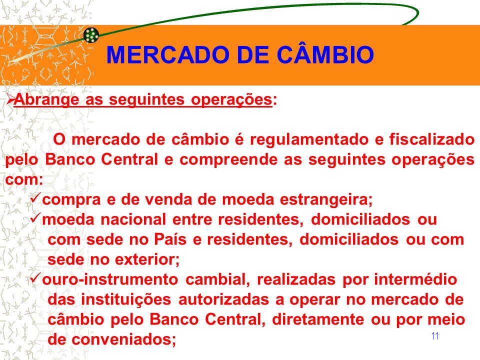 MERCADO DE CÂMBIO Abrange as seguintes operações: