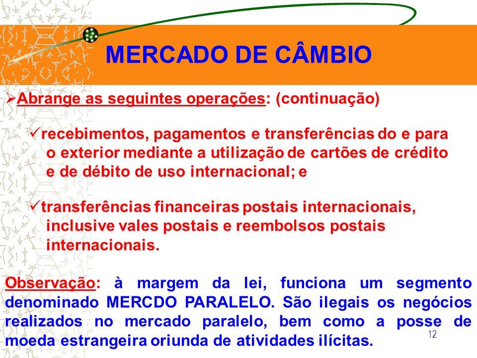 MERCADO DE CÂMBIO Abrange as seguintes operações: (continuação)
