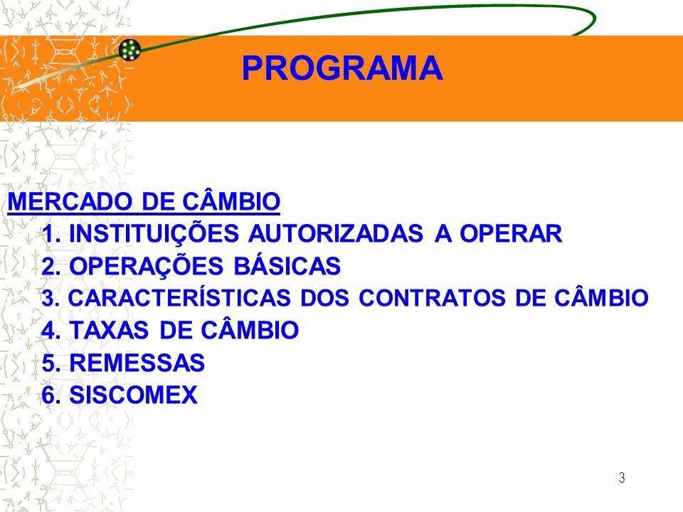 PROGRAMA MERCADO DE CÂMBIO 1. INSTITUIÇÕES AUTORIZADAS A OPERAR