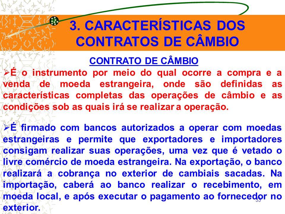 3. CARACTERÍSTICAS DOS CONTRATOS DE CÂMBIO