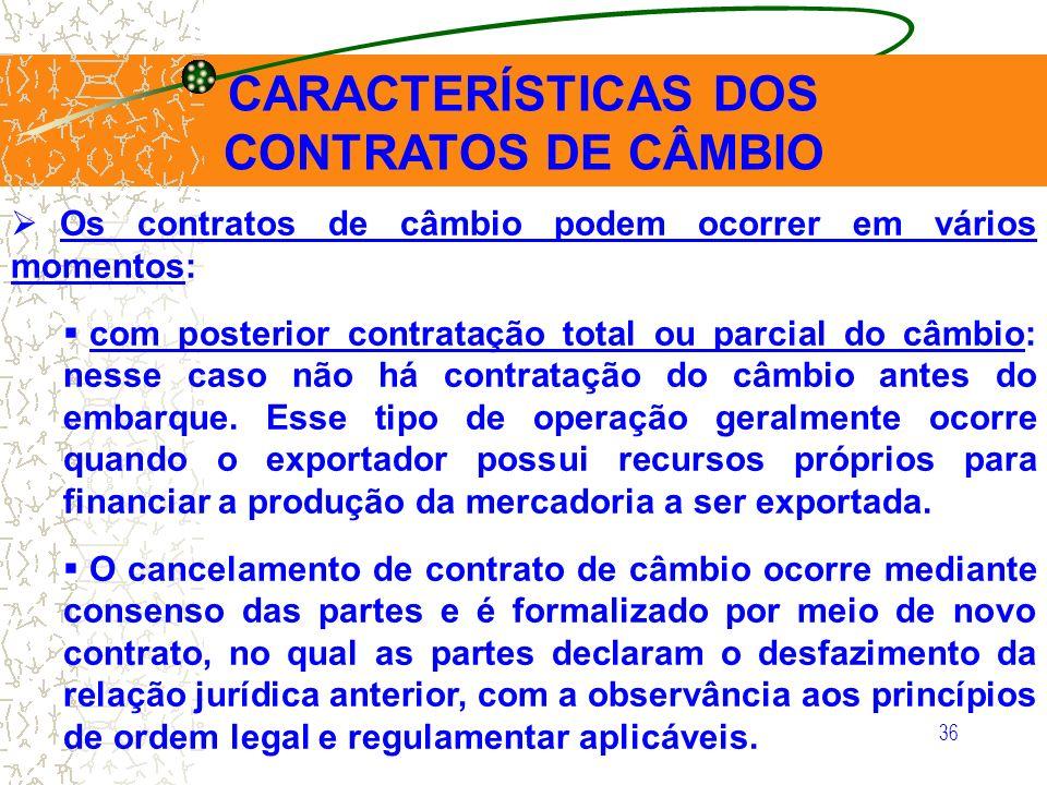 CARACTERÍSTICAS DOS CONTRATOS DE CÂMBIO