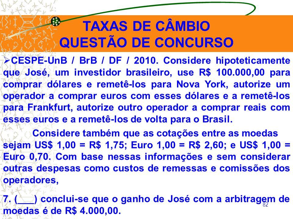 TAXAS DE CÂMBIO QUESTÃO DE CONCURSO