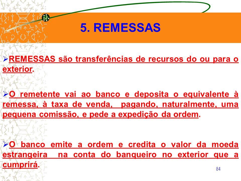 5. REMESSAS REMESSAS são transferências de recursos do ou para o exterior.