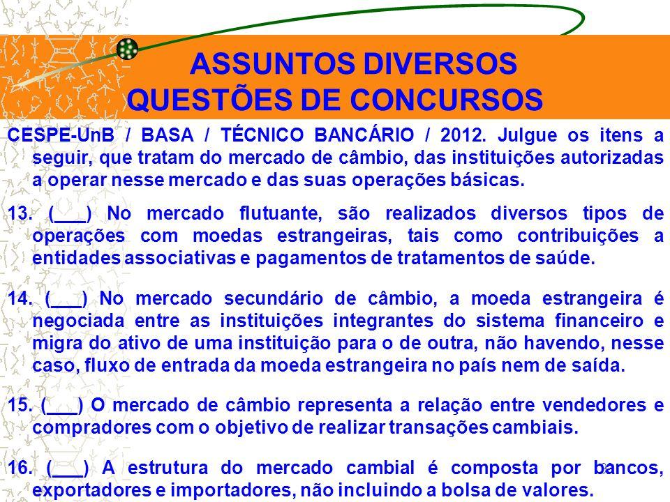 QUESTÕES DE CONCURSOS ASSUNTOS DIVERSOS
