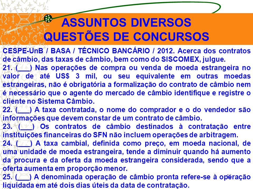 ASSUNTOS DIVERSOS QUESTÕES DE CONCURSOS