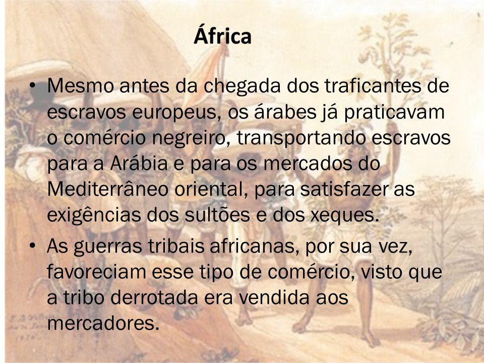 Mesmo antes da chegada dos traficantes de escravos europeus, os árabes já praticavam o comércio negreiro, transportando escravos para a Arábia e para os mercados do Mediterrâneo oriental, para satisfazer as exigências dos sultões e dos xeques.