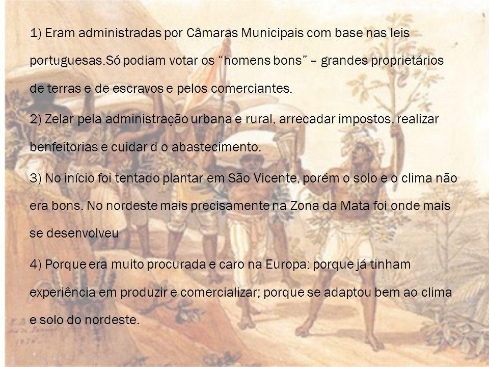 1) Eram administradas por Câmaras Municipais com base nas leis portuguesas.Só podiam votar os homens bons – grandes proprietários de terras e de escravos e pelos comerciantes.