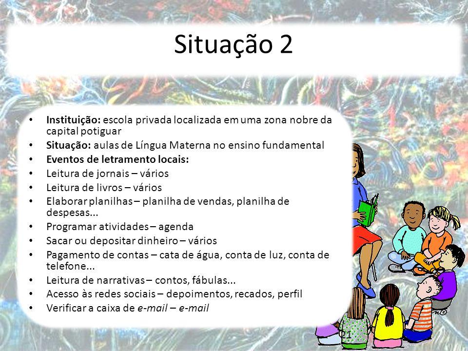 Situação 2 Instituição: escola privada localizada em uma zona nobre da capital potiguar. Situação: aulas de Língua Materna no ensino fundamental.
