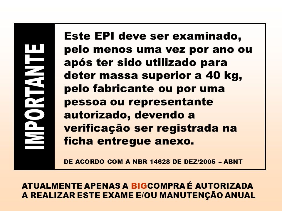 Este EPI deve ser examinado, pelo menos uma vez por ano ou após ter sido utilizado para deter massa superior a 40 kg, pelo fabricante ou por uma pessoa ou representante autorizado, devendo a verificação ser registrada na ficha entregue anexo.