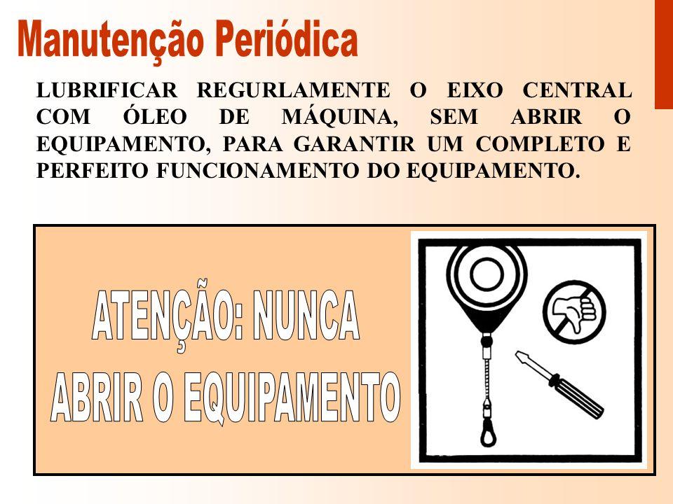 Manutenção Periódica ATENÇÃO: NUNCA ABRIR O EQUIPAMENTO
