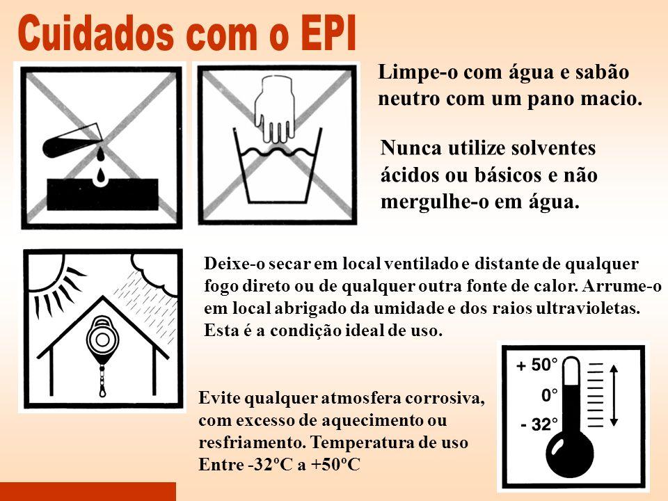 Cuidados com o EPI Limpe-o com água e sabão neutro com um pano macio.