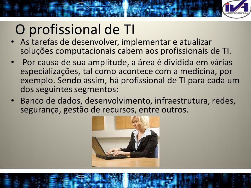 O profissional de TIAs tarefas de desenvolver, implementar e atualizar soluções computacionais cabem aos profissionais de TI.