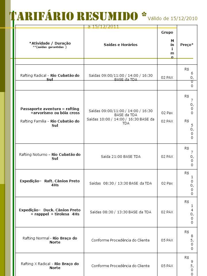 TARIFÁRIO RESUMIDO *Válido de 15/12/2010 a 15/12/2011
